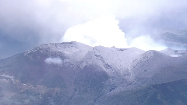 Aerial view Mount Shindake partially covered with ash Zoom in