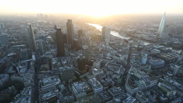 Aerial view moving from north to south shows skyscrapers including Tower 42 the Leadenhall building also known as the Cheesegrater 30 St Mary Axe...
