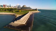 Aerial view moving north to close in on Adler Planetarium