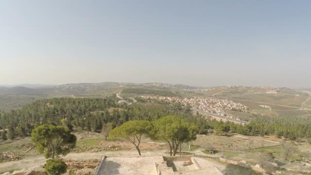 Aerial view, Nebi Samuel National Park, the traditional burial site of the biblical Hebrew prophet Samuel