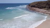 4K Aerial View of a beach in New South Wales, Merry Beach, Australia
