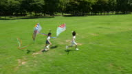 Aerial view of a boy and a girl running with kites in summer at Seoulforest (the third largest park in Seoul city)