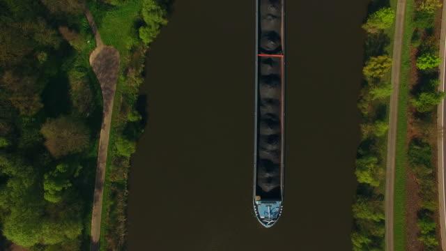 Aerial view of a cargo vessel on Saar River near Serrig, , District Trier-Saarburg, Rhineland-Palatinate, Germany