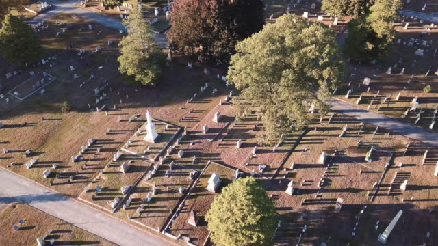 Aerial view of a cemetery at sunset