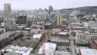 Aerial view of a crane in Portland