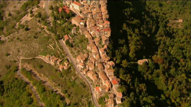 Aerial view of a hilltop village in the Abruzzo Mountains / Abruzzi, Italy