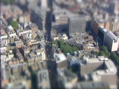 Aerial view of a miniature city. NTSC, PAL