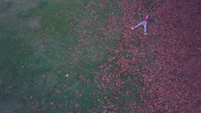 Aerial view of a young millennial woman laying over autumn leaves