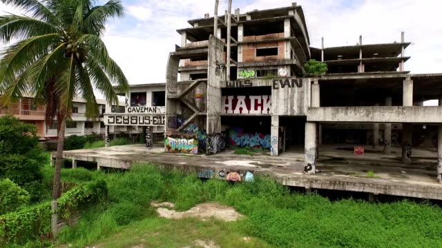 Luftaufnahme der verlassenen Gebäude