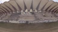 Aerial view of abandoned soccer stadium in Havana Cuba