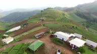 Aerial view of agriculture village on mountain