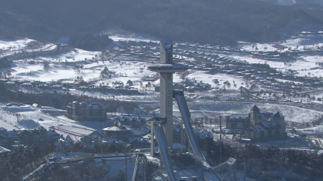 Aerial view of Alpensia Ski Jumping Stadium of Pyeongchang (2018 Winter Olympics) in distance