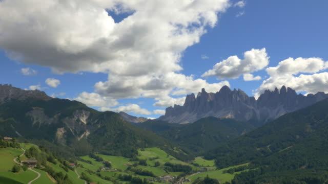 Aerial view of Alto Adige Peaks Dolomites Alps
