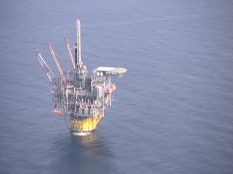 Aerial view of an oil rig in the gulf of Mexico