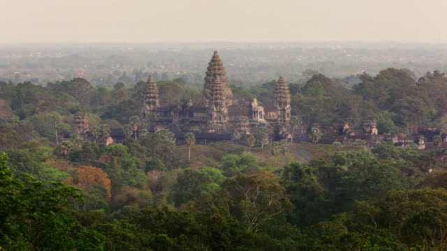HA, LS Aerial view of Angkor Wat temple and forest with birds flying in foreground / Siem Reap, Cambodia
