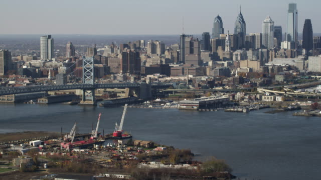 Aerial view of approach to Philadelphia and the Benjamin Franklin Bridge. Shot in 2011.