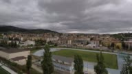 Aerial View of Athletics track in Piazza D'Armi in L'Aquila Italy on May 7 2017