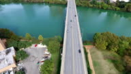 Aerial View of Austin Texas South Congress Avenue bridge leading up to the Texas State Capital Building