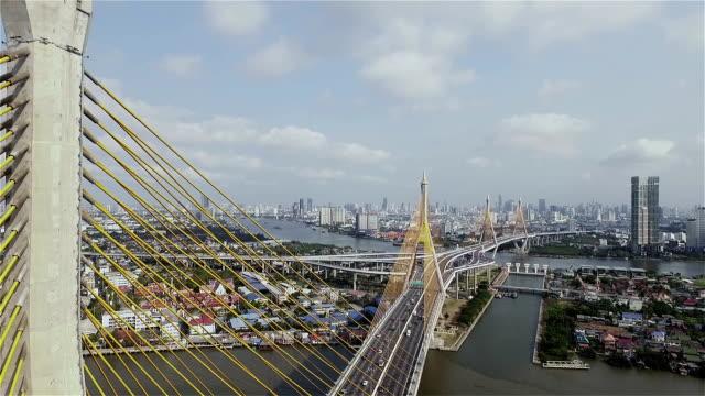 Aerial View of Bangkok and The Bridge Across the Chao Phraya River