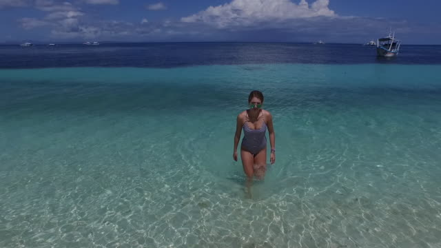 Aerial view of beach and woman standing in ocean shallows