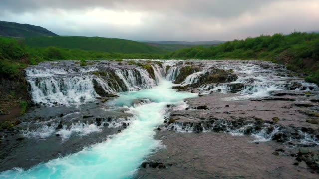Aerial view of Beautiful Bruarfoss waterfall in Iceland
