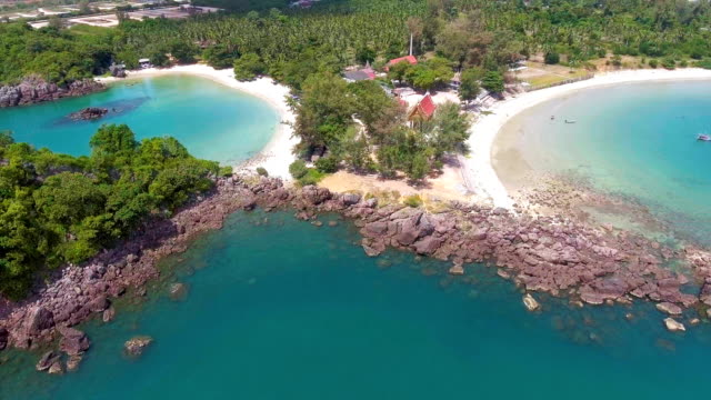 Aerial view of Beautiful Tropical Beach with White Sand