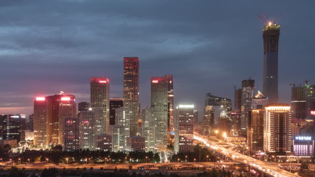 T/L PAN Aerial View of Beijing CBD-Bereich in der Nacht