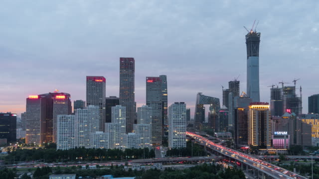 T/L PAN Aerial View of Beijing CBD Area, Dusk to Night Transition