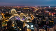 T/L WS PAN Aerial View of Beijing Skyline at Night