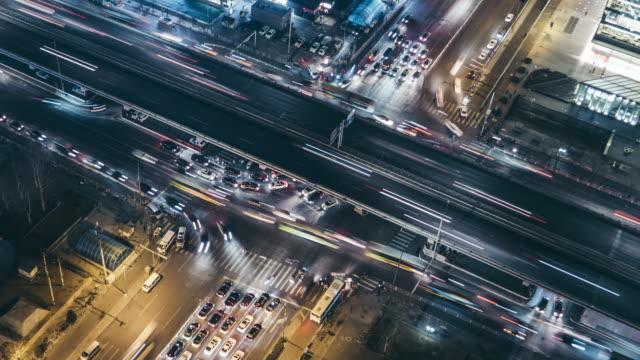 T/L CU HA ZI Aerial View of Beijing Traffic at Night