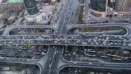 T/L WS HA ZI Aerial View of Beijing Traffic Jam / Beijing, China