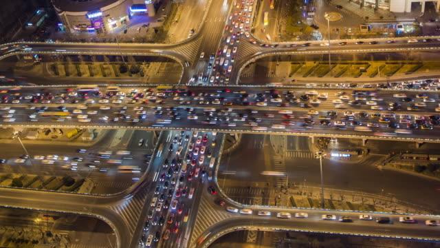T/L Aerial View of Beijing Traffic Jam