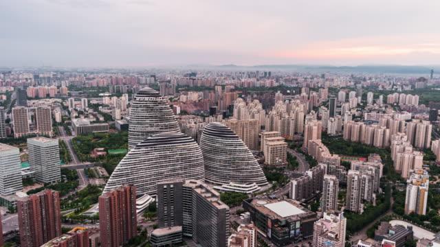 T/L PAN Flygfoto över Beijing Wangjing område