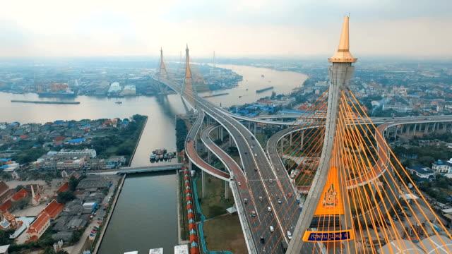 aerial view of bhumibol 1,2 bridge