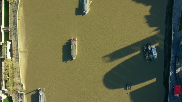 Aerial view of boats on River Thames London