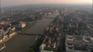 Aerial view of bridges and buildings along Thames / London