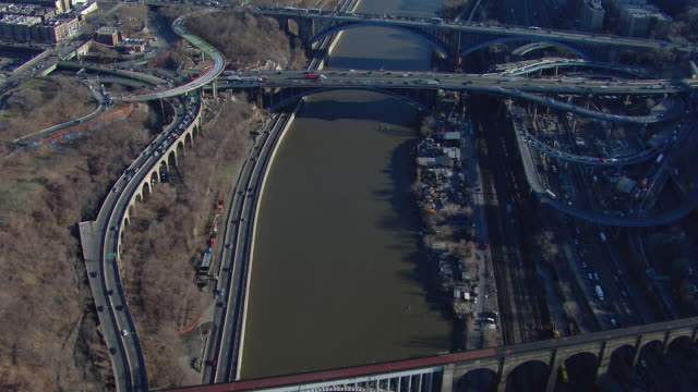 Aerial view of bridges crossing the Harlem River between Washington Heights and the Bronx in New York City.