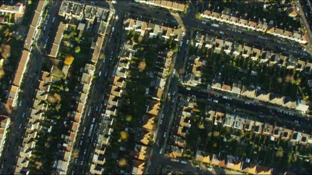 Aerial view of British suburban residential communities London