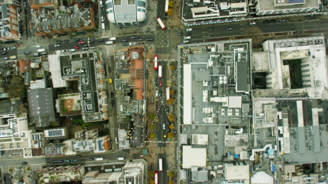 Aerial view of building rooftops in urban London