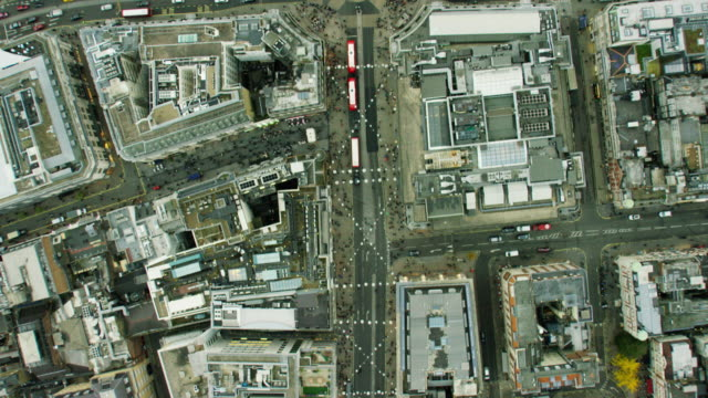 Aerial view of buildings and busy roads London