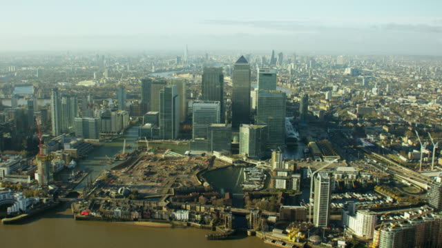 Aerial view of buildings in Canary Wharf London