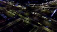 Aerial View of Busy Highway in Bangkok Thailand at Night