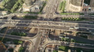 T/L WS HA ZO Aerial View of Busy Overpass / Beijing, China