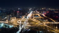 T/L WS HA PAN Aerial View of Busy Overpass in Beijing at Night