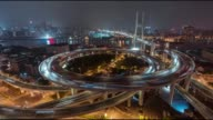 T/L WS HA PAN Aerial View of Busy Overpass in Shanghai at Night, Nanpu Bridge