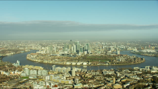 Aerial view of Canary Wharf and River Thames