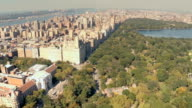 Aerial view of Central Park west buildings in NYC