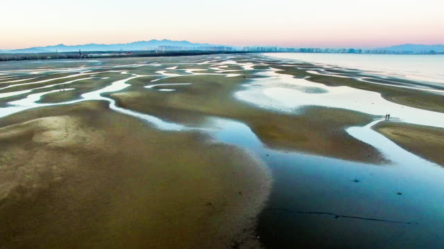 Aerial view of charming beach and shoal in Beidaihe scenic spot, Hebei, China