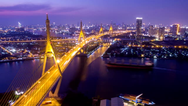 Luftbild von Stadt-Brücke Zeitraffer bei Nacht in Bangkok, Thailand