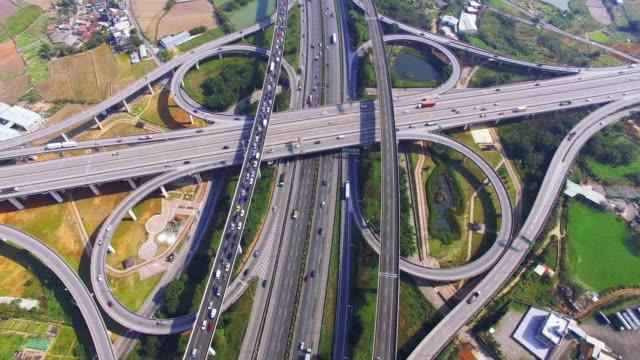 Aerial view of city highway interchange with bridge road